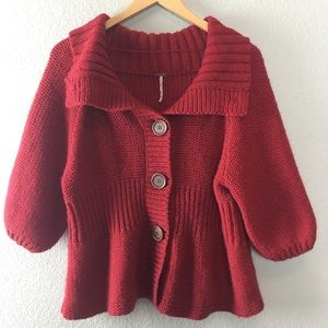 Free People Chunky Cable Knit Cardigan Sweater L
